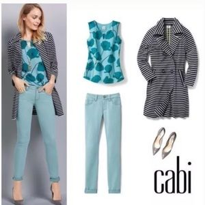 Cabi #3268 Blue Poppy Career Small Blouse